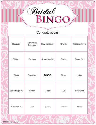 photo about Free Printable Bridal Shower Bingo named Tailored Bridal Shower Bingo (10 models) @Bridal-Shower