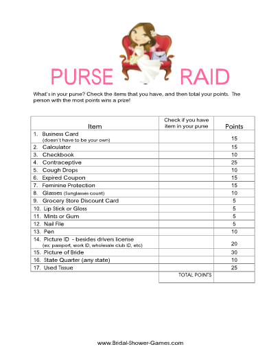 printable whats in your purse game classic