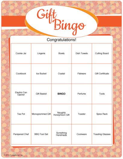 photograph regarding Free Printable Bridal Shower Bingo referred to as Printable Bridal Shower Present Bingo